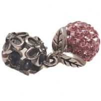 Pink  Pave Crystal Dangle Sterling Silver Charm Bead (050)